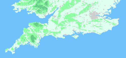 relief map of southern england